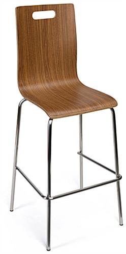 Bar height bentwood seats in dark finish wood