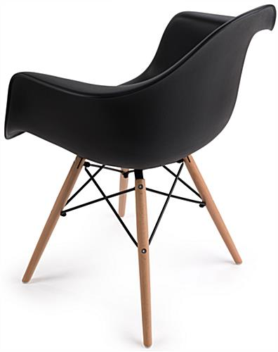 High Back Molded Plastic Wood Base Chair