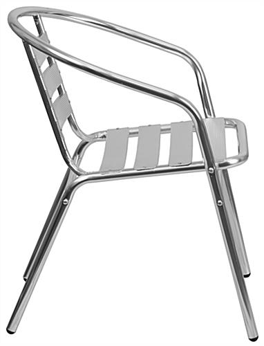 Aluminum indoor/outdoor stack chair with scratch-resistant foot guides