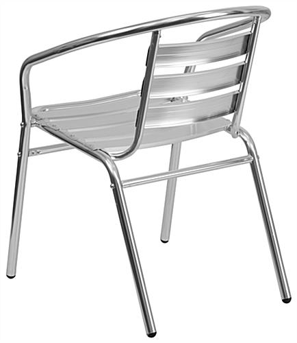 Aluminum indoor/outdoor stack chair in relaxed shape