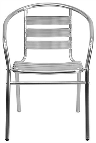 Aluminum indoor/outdoor stack chair with raw metal finish