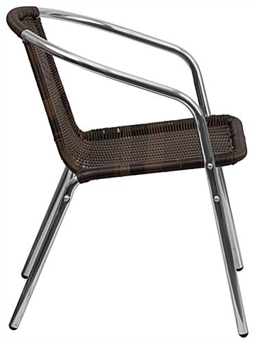 Aluminum rattan restaurant stacking chair with scratch-resistant foot guides