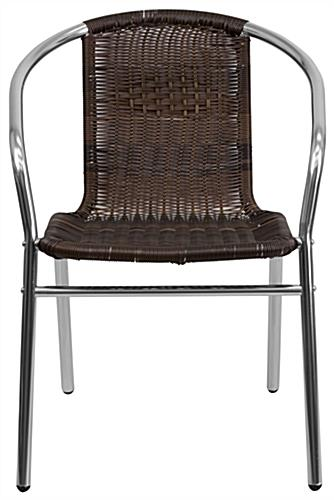 Aluminum rattan restaurant stacking chair with rustic-looking seat