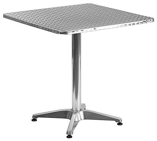 Commercial aluminum bistro furniture set with square table