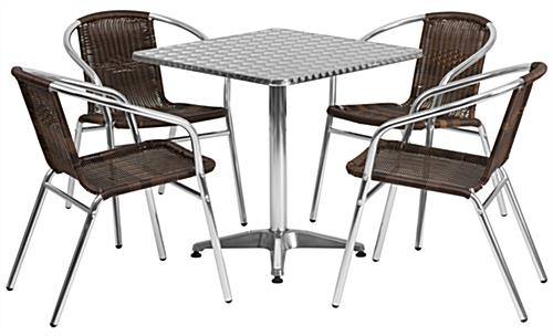 Square aluminum indoor/outdoor table set with 5 pieces