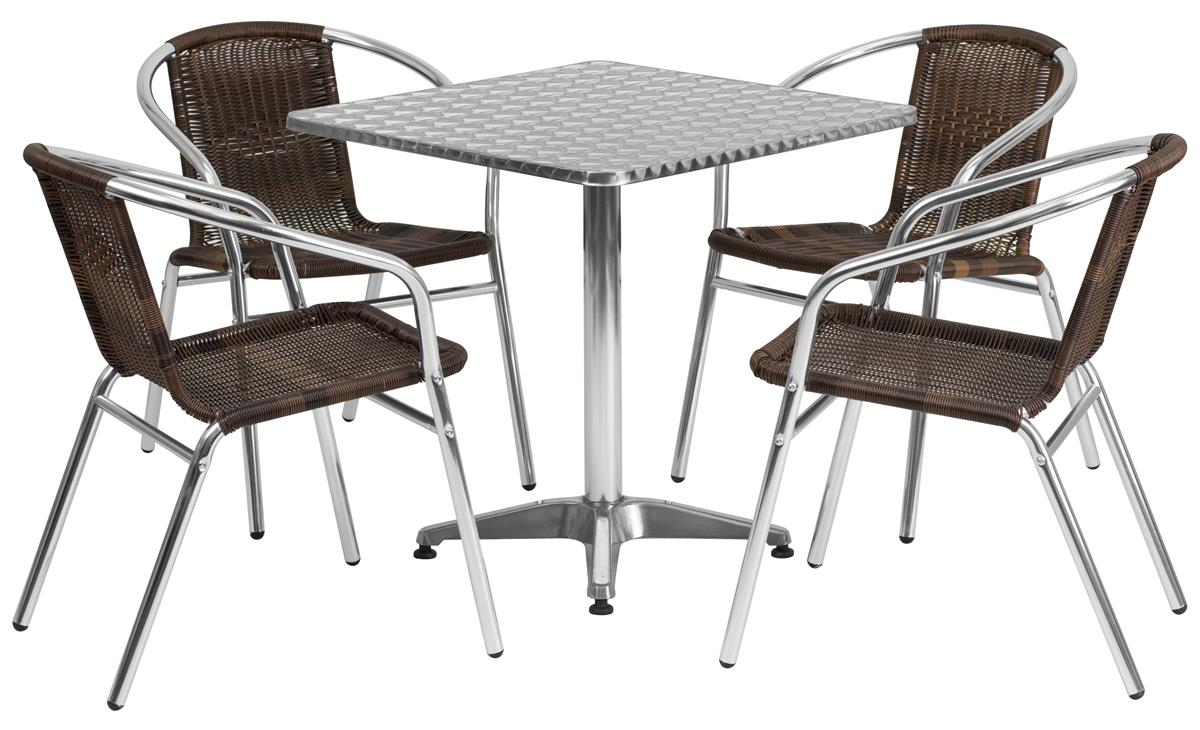 """Flash Furniture Dining Set w/ 28""""H Square Table, Outdoor Rated, 4 Rattan  Chairs"""