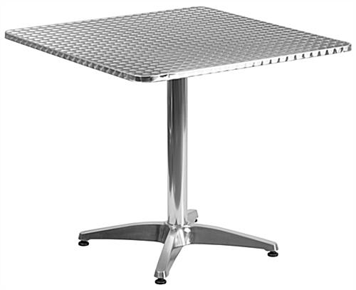 Aluminum restaurant table and chair set with larger size top