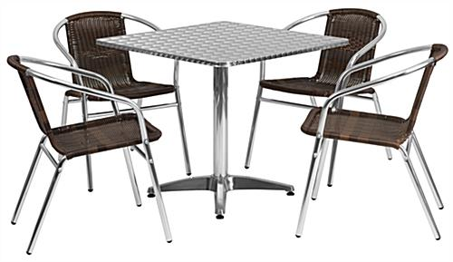 Aluminum restaurant table and chair set seats four