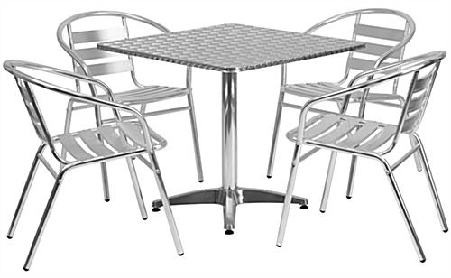 Bistro aluminum table square with matching chairs