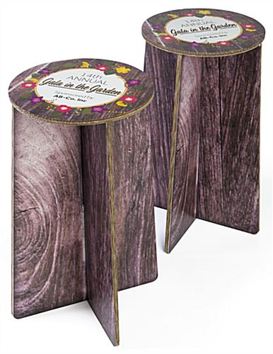 Set of two branded cardboard party stools