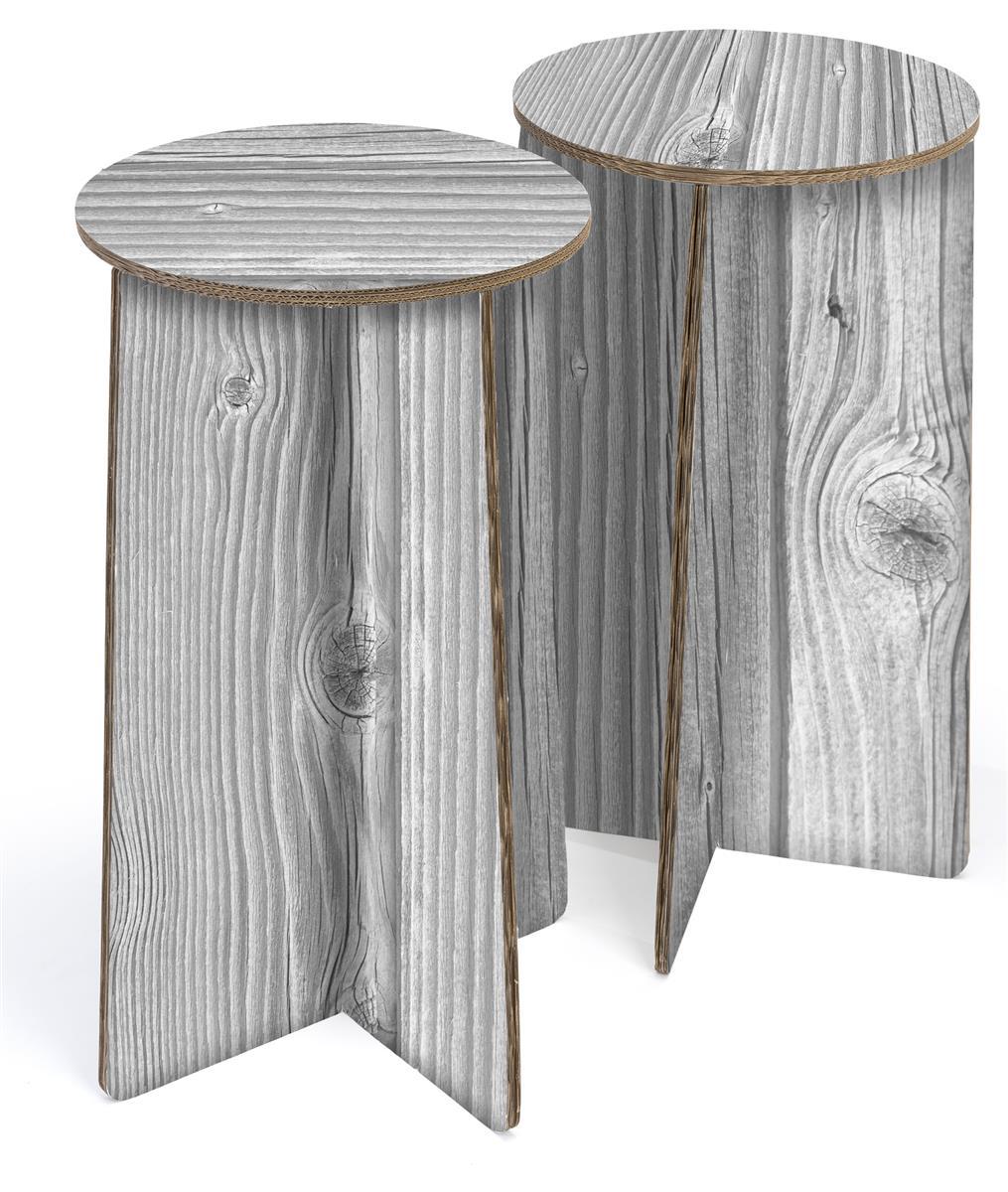 Terrific 28H Round Cardboard Stool Set Of 2 Ships Flat Gray Wood Theyellowbook Wood Chair Design Ideas Theyellowbookinfo