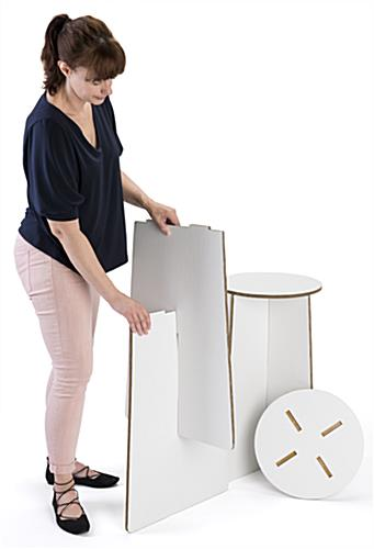 quick assembly cardboard trade show stools with lightweight design