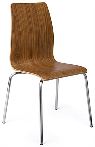 Dining height lunchroom chairs in dark finish wood