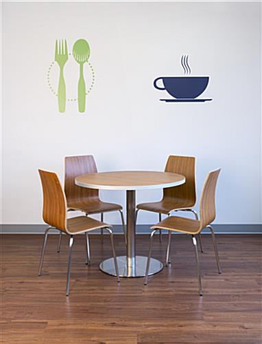 Dining height lunchroom chairs paired with table