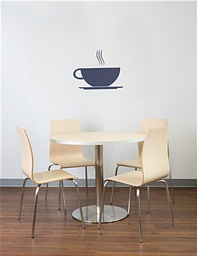 Dining height breakroom chairs paired with table