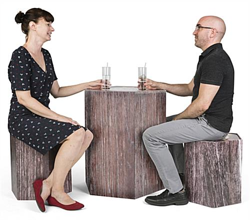 Branded cardboard furniture set with 2 stools and low table