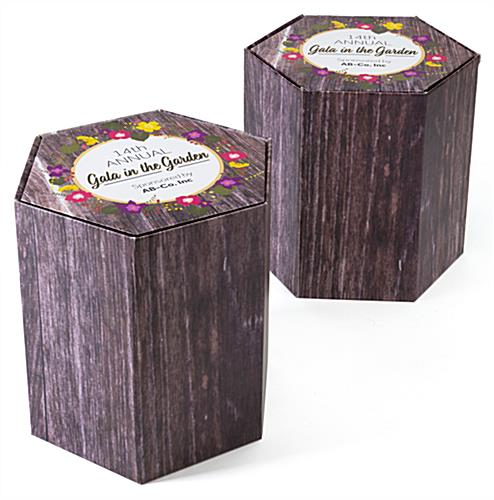 Hexagon shaped economy branded cardboard stools