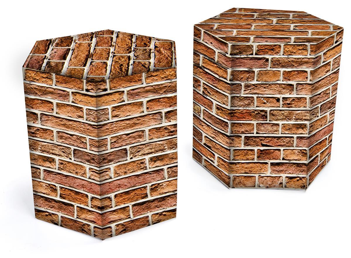 Swell 17H Hexagon Cardboard Stool Set Of 2 Ships Flat Red Brick Theyellowbook Wood Chair Design Ideas Theyellowbookinfo