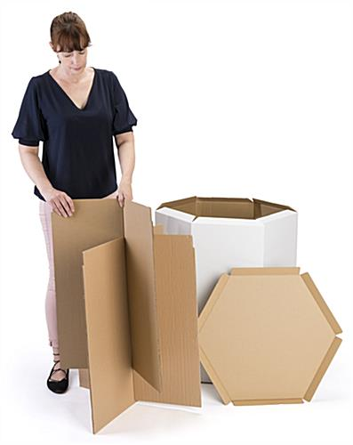 lightweight hexagon pedestal cardboard table assembles easily