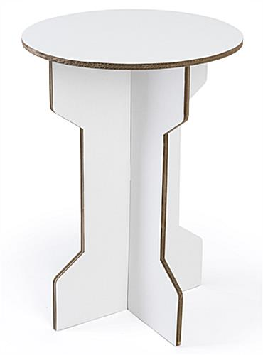Inexpensive white finish cardboard party table