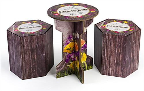 Branded cardboard event table set with 1 table and 2 stools