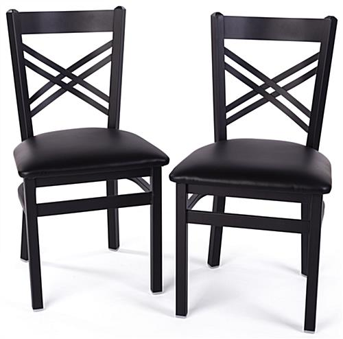 Black metal cafe chair have a weight capacity of 300 pounds