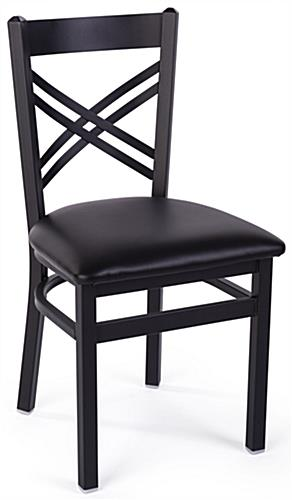 Black metal cafe chair have an overall height of 33 inches