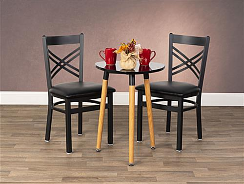 Black metal cafe chair are table height