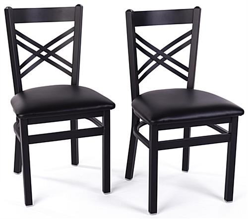 Black metal cafe chair with cross-back design