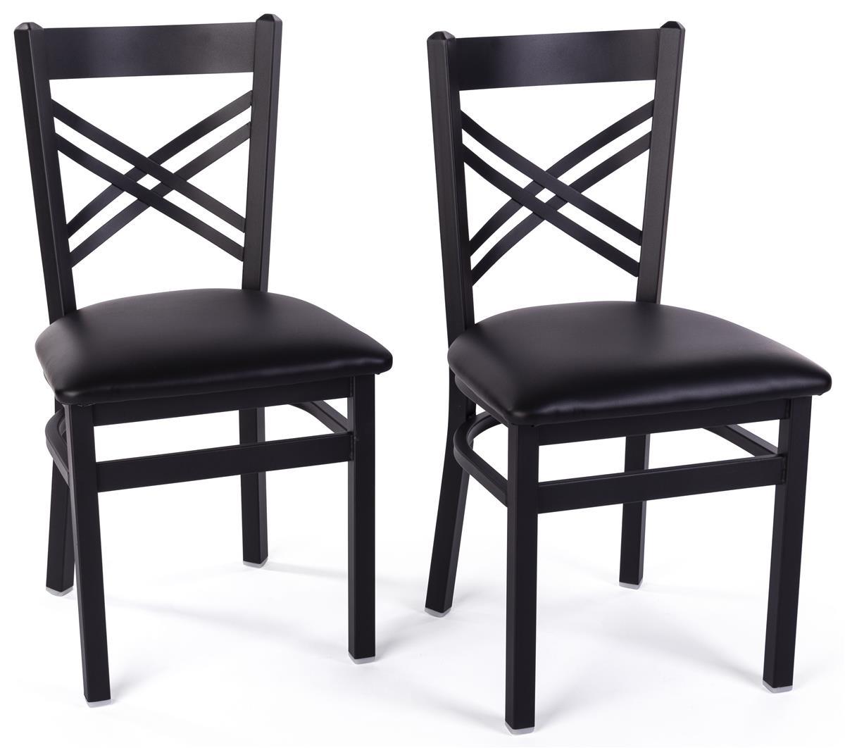 "8"" Café Style Chair, Cross Back, Black Epoxy Coat Finish, Set of 8 - Black"
