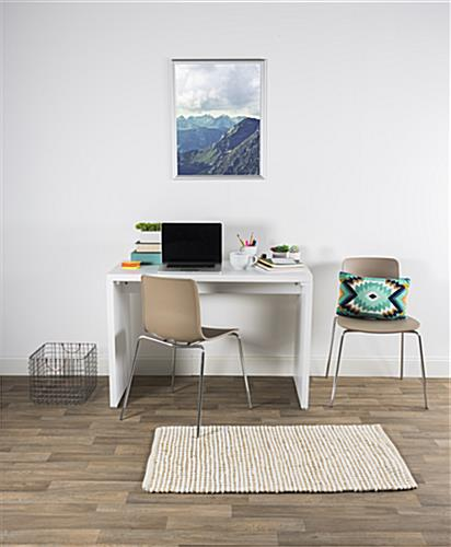 Set of 2 modern plastic chairs in home office