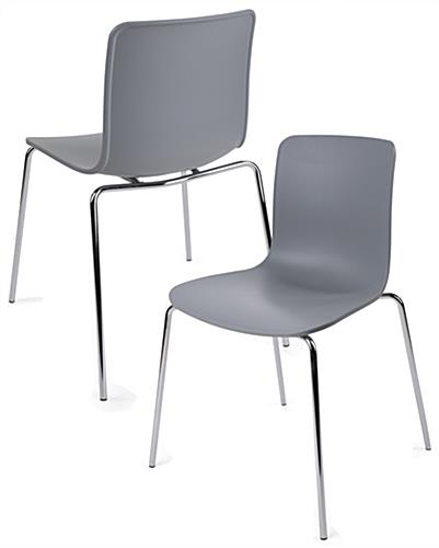 Set Of 2 Modern Molded Chairs With Plastic Seats ...