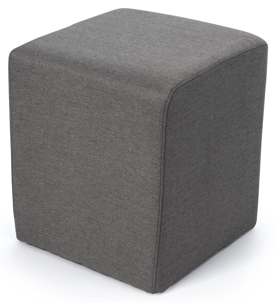 Cube Ottoman Seating Textured Gray Upholstery