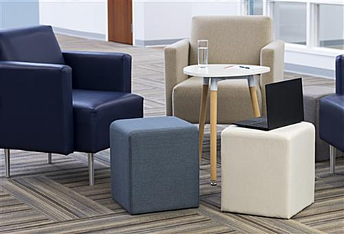 Square ottoman seating cube in office environment
