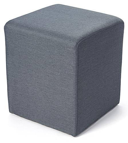Square ottoman seating cube in blue textured fabric