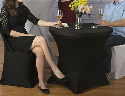 Table with Spandex Cover, Black Stretch Fabric