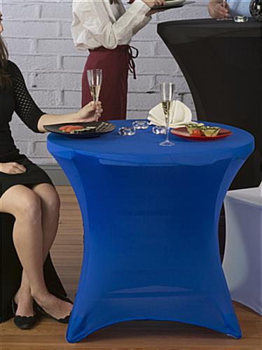 Café Table with Blue Spandex Cover, Fitted