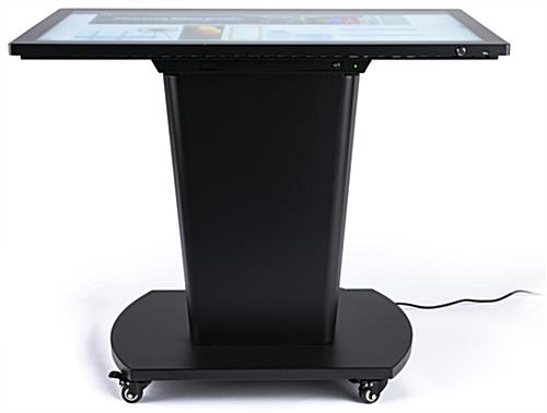 Black multi-user interactive touch table has 10-point capactive touchscreen