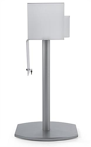 Pedestal suggestion box stand with lock and large rear door