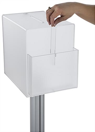 Pedestal suggestion box stand with lock and pocket divider