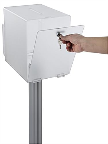 Pedestal suggestion box stand with lock for donations