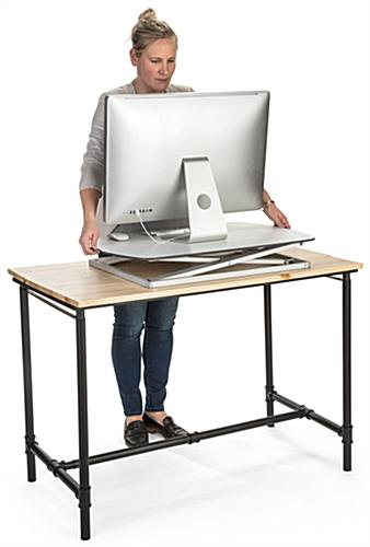 Height adjustable standing desk converter with gas lift mechanism