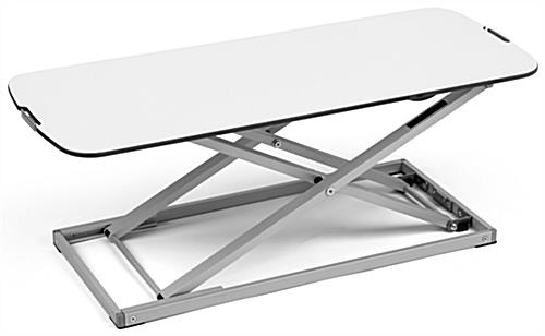 Folding sit stand laptop desk with steel frame