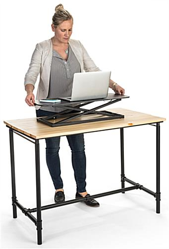 Folding sit stand laptop workstation with adjustable height