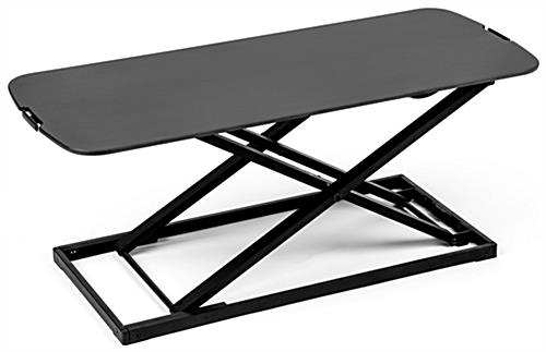 Folding sit stand laptop workstation with steel frame