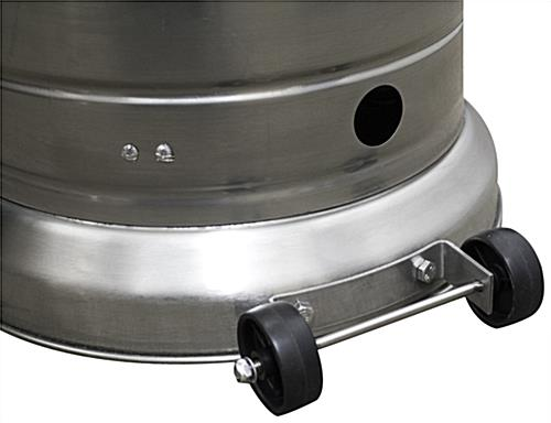 Stainless steel patio heater with edge wheels for mobility