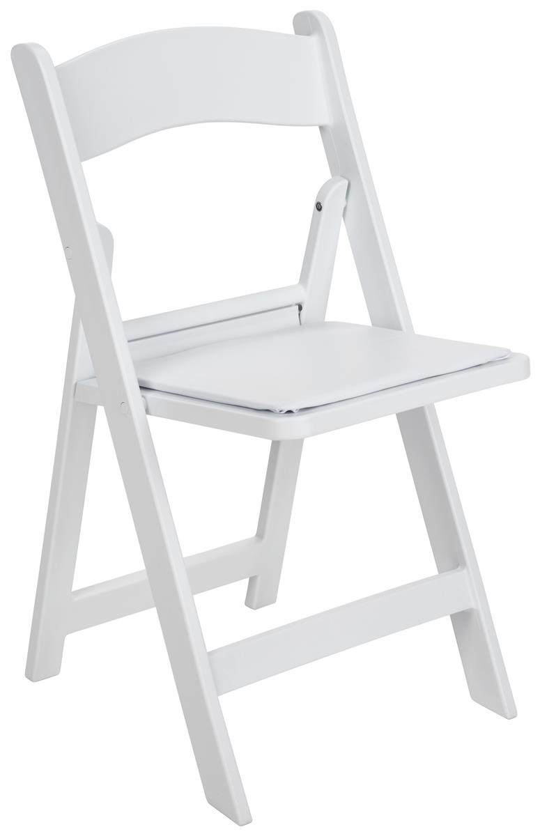 Heavy Duty Folding Chair Plastic Padded Seat White