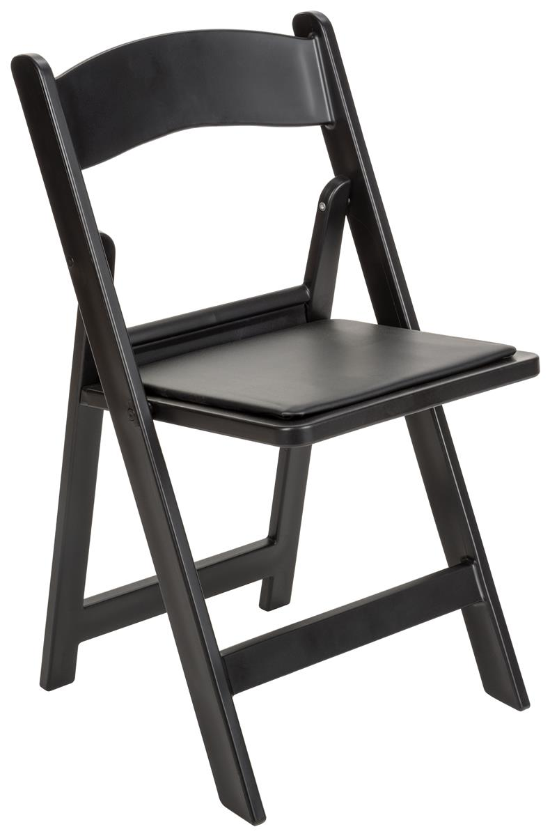 Heavy Duty Folding Plastic Chair Padded Black