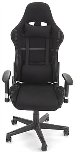 PC gaming chair with soft-padded neck and back cushions