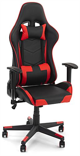 Racing style office chair with nylon and pu leather construction
